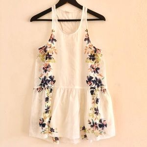 Free People ruffled embroidered flower tank top XS